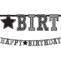 Cumpleaños Blanco y Negro Banner