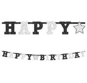 Cumpleaños Blanco y Negro Baner Letras