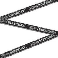 Cumpleaños Blanco y Negro Baner Metalico