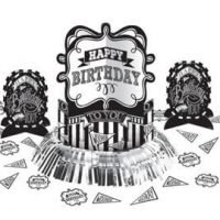 Cumpleaños Blanco y Negro Centro de Mesa