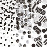 Cumpleaños Blanco y Negro Confeti