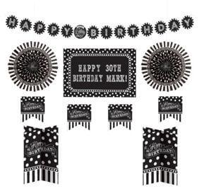Cumpleaños Blanco y Negro Decoracion Kit