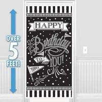 Cumpleaños Blanco y Negro Decoracion Puerta
