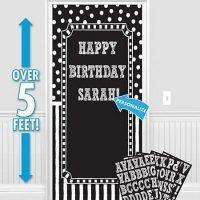 Cumpleaños Blanco y Negro Decoracion Puerta Personalizar