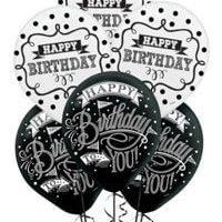Cumpleaños Blanco y Negro Globos Latex Decoracion