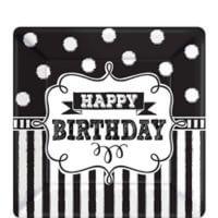 Cumpleaños Blanco y Negro Plato Postre