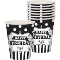 Cumpleaños Blanco y Negro Vaso 9 oz