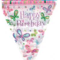 Banner (Banderin) Happy Birthday Mariposas