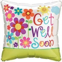 """Globo Metalico 18"""" Get Well Soon (Recuperate Pronto)"""