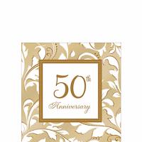 Aniversario 50 Servilleta para Bebidas Dorada Paq 16 Unid Precio: ¢ 2.700,00