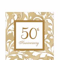 Aniversario 50 Servilleta para Almuerzo Dorada Paq 16 Unid