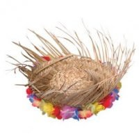 Luau Sombrero Paja con Flores