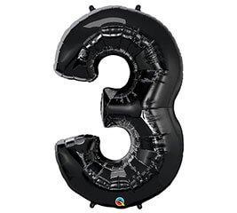 """Globo Metalico 35"""" Numero 3 Negro"""