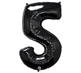 """Globo Metalico 35"""" Numero 5 Negro"""