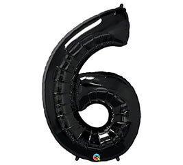 """Globo Metalico 35"""" Numero 6 Negro"""