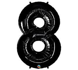 """Globo Metalico 35"""" Numero 8 Negro"""