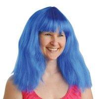 Peluca Neon Azul Larga