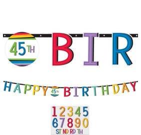 Cumpleaños Colores Baner Letras Personalizar Edad