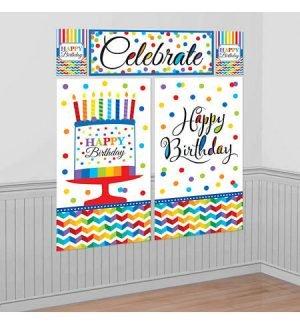 Cumpleaños Colores Decoracion Pared
