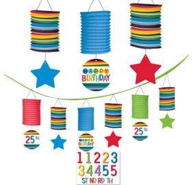 Cumpleaños Colores Linternas Decoracion Personalizar Edad