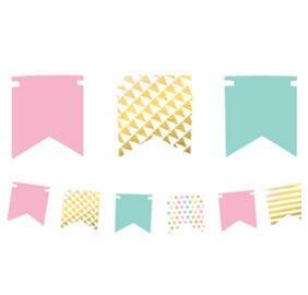 Cumpleaños Colores Pastel y Dorado Baner