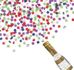 Cumpleaños Colores Pastel y Dorado Confeti Botella