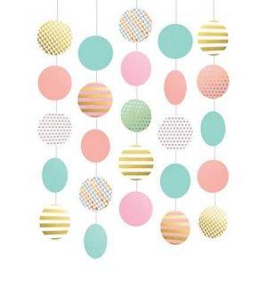 Cumpleaños Colores Pastel y Dorado Decoracion Colgante